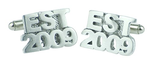 Established 2009 7th Wedding Anniversary Cufflinks - EST 2009 - Handmade & Unique 7 Year Gift