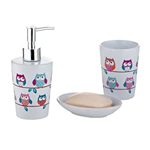 Set accessori da bagno in ceramica, design: Gufi, Multicolore: Amazon ...