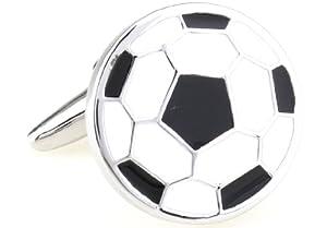 Soccer Ball Black White Cufflinks with a Presentation Gift Box