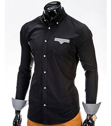 Camicia a maniche lunghe BetterStylz Flores Slim Fit camice e per il tempo libero Buiseness dinotech 3 colori (S-XXL) nero 52
