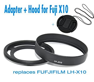 EzFoto 52mm Filter Adapter + Lens Hood for Fuji X10, with a free lens cap
