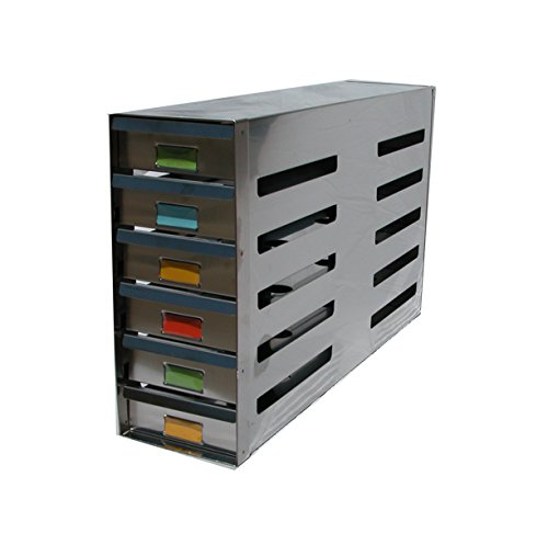 "Avantek Stainless Steel Sliding Drawer Freezer Rack Holding 24 - 2"" Cryostorage Boxes - Fit Most Standard Upright Freezers"