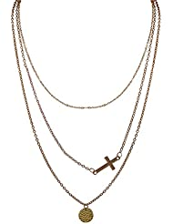 Habors Allloy Gold Cross And Disc Triple Layer Necklace For Women (JFND0496)