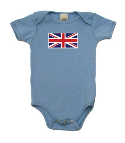 Union Jack On Infant Onesie, 3-6 Mo, Light Blue front-1022351