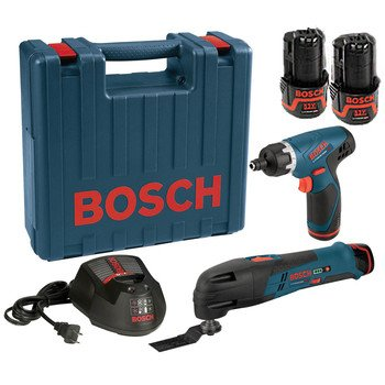 Bosch Ps50-2C 12-Volt Max Lithium-Ion Ps50 Multi-X Oscillating Tool And Ps20 Screwdriver Combo Kit With 2 Batteries, Charger And Case
