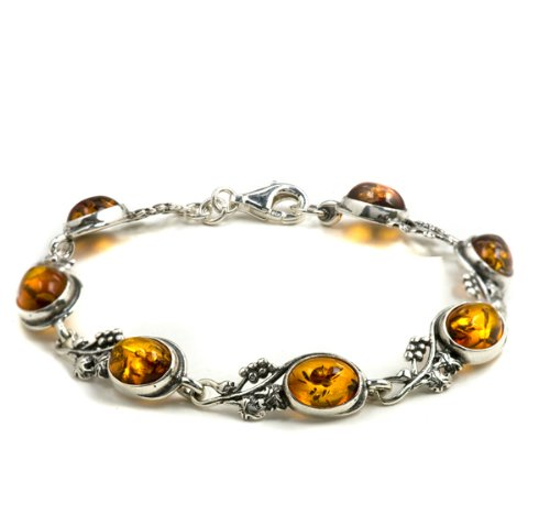 Certified Genuine Amber Sterling Silver Grapevine Bracelet 18cm Long