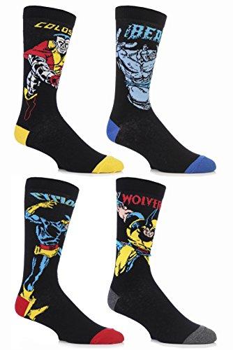 SockShop-Herren-4-Paar-Marvel-X-Men-Wolverine-Beast-Cyclops-und-Colossus-Socken-aus-Baumwolle