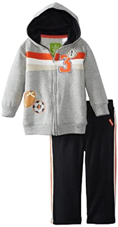 Watch Me Grow! by Sesame Street Baby-Boys Infant 2 Piece Soccer Football Baseball Jacket Hood And Pant, Gray, 12 Months