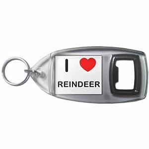 I Love Reindeer - Botella plástica del anillo dominante del abrelatas