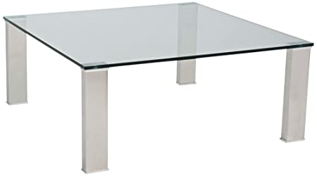 Beth Stainless and Clear Glass Square Coffee Table