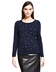 Autograph Gem Embellished Jumper with Angora