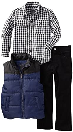 Kenneth Cole Boys 2-7 Puffy Vest with Shirt and Jean, Blue, 4