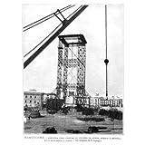 Grabado antiguo (1887) - Xilografía - Barcelona.- Armadura Para Colocar La Columna De Honor, Remate Y Estatua...