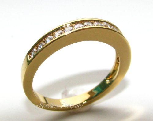 Women's Channel Set Half Eternity Swarovski Ring. 24k gold electroplated. Outstanding quality band.