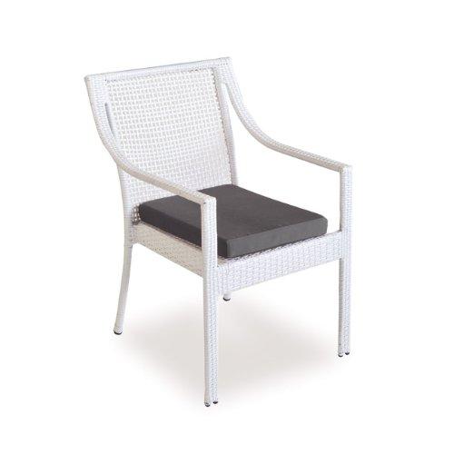 Stapelsessel in Polyrattan Gartenmöbel weißen Stoff Kissen