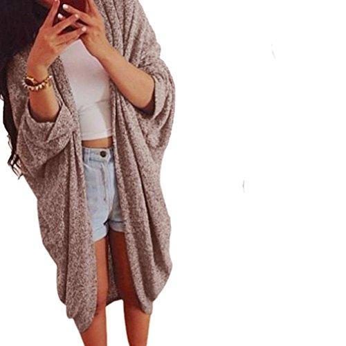 Knit Cardigan,Hemlock Women's Lady Fashion Casual Loose Sweater Oversize Sleeve Coat (XL, Khaki)