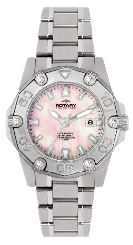 Rotary ALB00030/W/07 Ladies White Case Stainless Steel Bracelet Watch