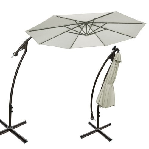 Strong Camel 9' Cantilever Solar 40 Led Light Patio Umbrella Outdoor Garden Aluminium Market-Ecru back-1075890
