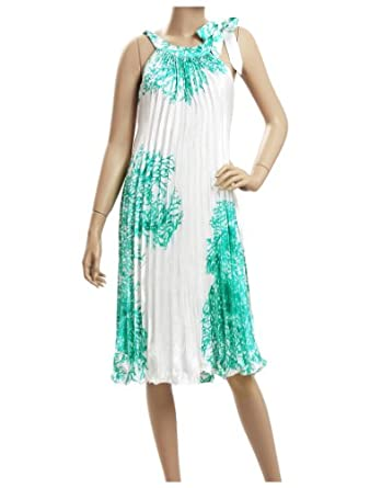 Ever Pretty Ruffles Calf-length Round Neck Halter 50S Vintage Print Casual Dress 03449, HE03449GR08, Multiple(green), 6US