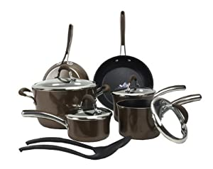 Farberware 14177 12 Piece Kitchen Teflon Nonstick Cookware Set Pots/Pans Brown