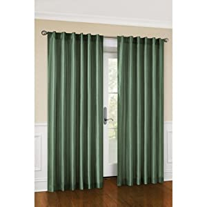 "Canopy Faux Silk Lined Curtain Panel, Set of 2 (Pine Green, 54"" x 95"")"