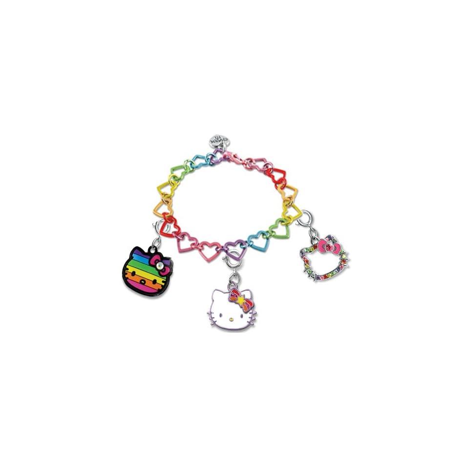 Licensed Sanrio Hello Kitty Set of 3 Groovy Rainbow Kitty Charms on Rainbow Linked Heart Bracelet