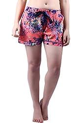 Vixenwrap Coral Pink Printed Shorts(L_Pink)