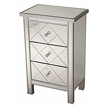 "Heather Ann Creations Modern 3 Drawer Accent Chest/Console with Front Beveled Mirrored Finish, 31"" x 20"", Silver"