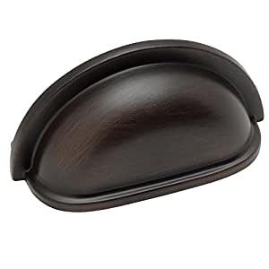"""Cosmas 4310ORB Oil Rubbed Bronze Cabinet Hardware Bin Cup Drawer Handle Pull - 3"""" Hole Centers"""