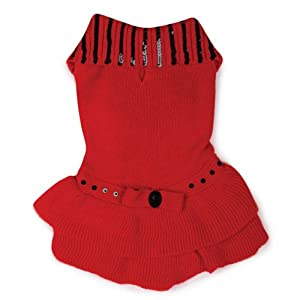 East Side Collection Acrylic Scarlet Knit Dog Dress, XX-Small, 8-Inch, Red