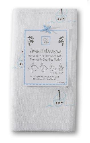 Swaddledesigns Marquisette Swaddling Blanket, Sailboats, Blue