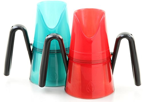 RiJe Dysphagia Cup, Pack of Two, Red and Aqua
