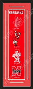 Heritage Banner Of Nebraska Huskers With Team Color Double Matting-Framed Awesome... by Art and More, Davenport, IA