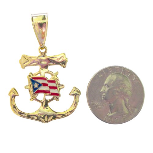 14Kt Gold Overlay Puerto Rico Flag Pendant Over Anchor Medal
