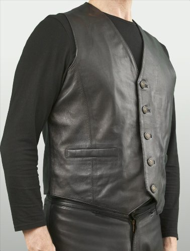 Ashwood Black Leather Waistcoat with fancy buttons - Mens (L, Chest 42