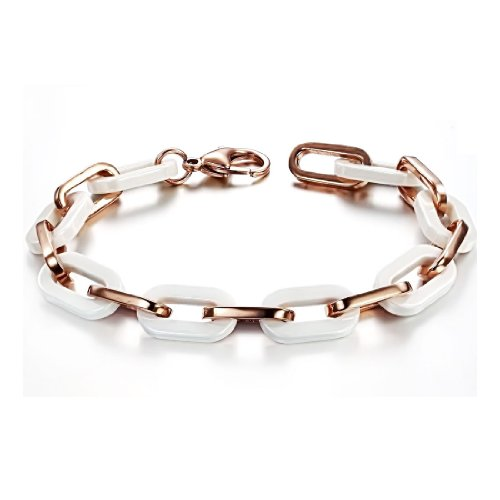 MiniBlue Rose Gold Plating Titanium Steel between Ceramic Lady Bracelet