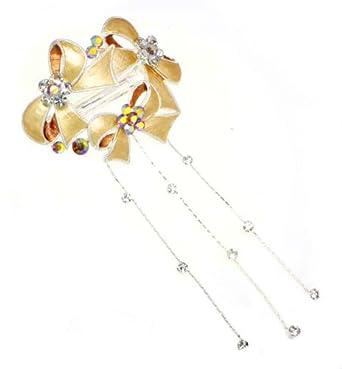 Copper Triple Ribbon Wreath Barrette Hair Clip with Dangles [Apparel]