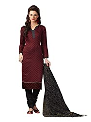 Touch Trends Maroon Embroidered Dress Material