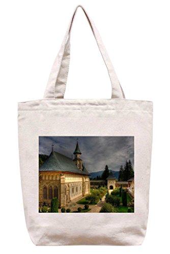 Church in the Courtyard - Cotton Canvas Tote Bag