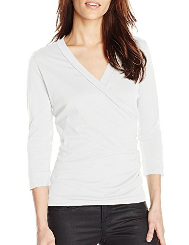 Lilla P Pima Jersey 3/4 Sleeve Surplice (Small, White)
