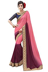 Sheknows Pink and Purple Georgette Embroiderd Saree