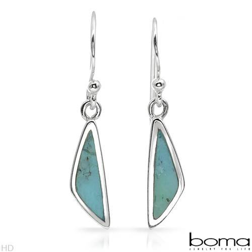 BOMA Attractive Earrings With Genuine Turquoises in 925 Sterling silver Length 26mm