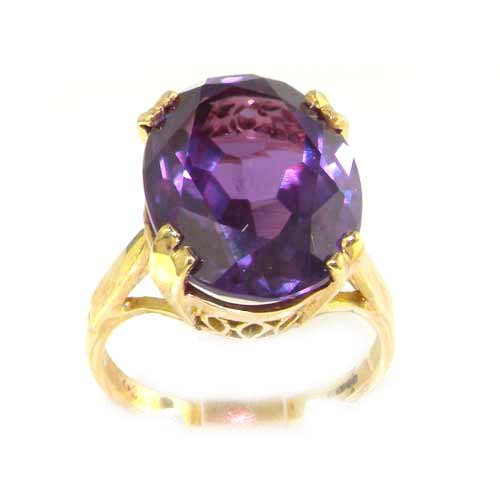 Luxury 9K Yellow Gold Womens Large Solitaire Created Alexandrite Ring - Size 6 - Finger Sizes 4 To 12 Available - Perfect Gift For Anniversary, Engagement, Wedding, First Child
