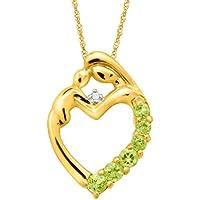 Mothers Jewel 1/3 ct Peridot Heart Pendant with Diamonds