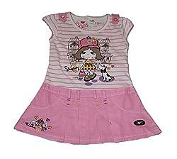 Bisbasta Baby Girl Round Neck Pink Cotton Frock (12 to 18 Months)