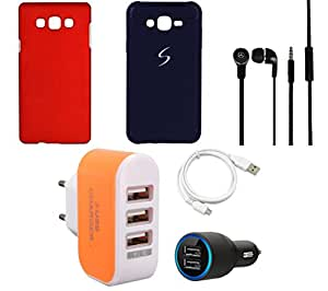 NIROSHA Cover Case Car Charger Headphone USB Cable Charger car for Samsung Galaxy ON5 - Combo