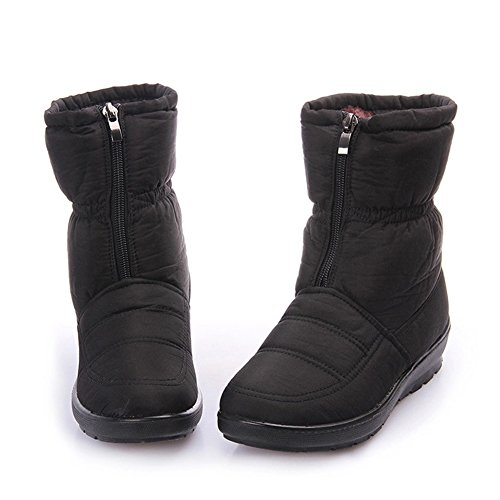 GIY Women Fashion Mid-Calf Fur Lining Snow Boots Platform Waterproof Warm Winter Bootie Slipper Shoes (Women Crock Boots compare prices)