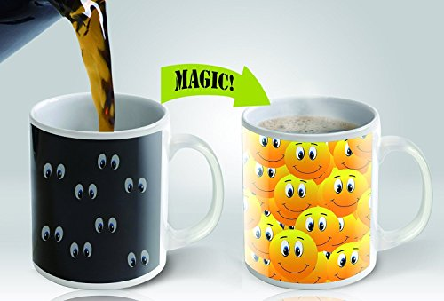 Cortunex Magic Mug Heat Sensitive Color Changing Smiley Design Ceramic, Coffee Mug, 11oz
