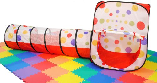 eWonderWorld Polka Dot Rectangular Play Tent House w/ Tunnel & Tote: 2 Piece