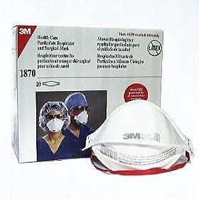 3M 1870(折りたたみ式) N95 鳥インフルエンザ、SARS、結核対策用マスク (20枚入り): ヘルス&ビューティー